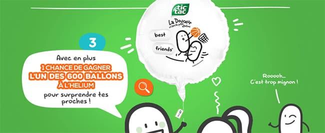 ballon à l'hélium à gagner avec votre boîte Tic-Tac Gentle Messages