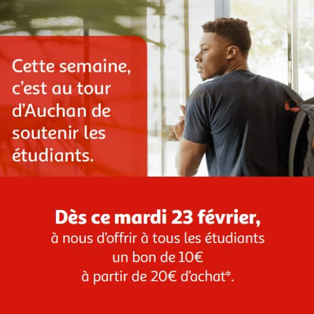 Bon d'achat Auchan de 10€ offert aux étudiants (dès 20€)