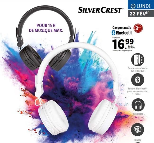 Casque audio bluetooth SilverCrest à petit prix chez Lidl