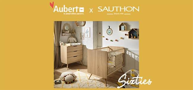 Remportez lit + commode + dispositif à langer Sixties Sauthon avec Aubert