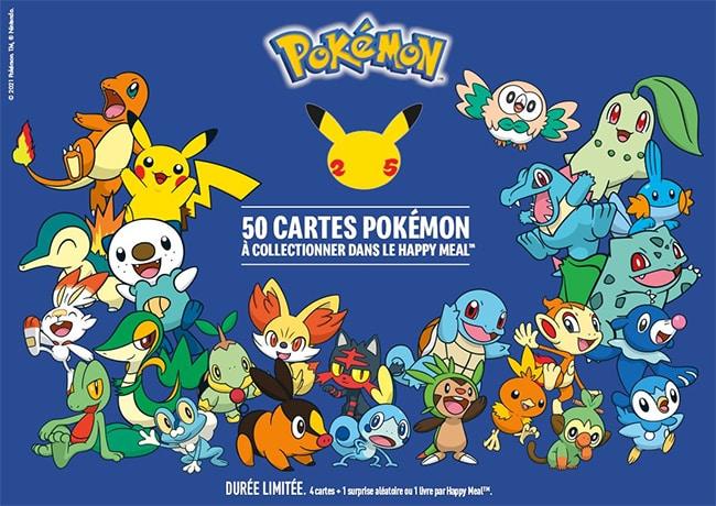 Collectionnez jusqu'à 50 cartes Pokémon avec les Happy Meal