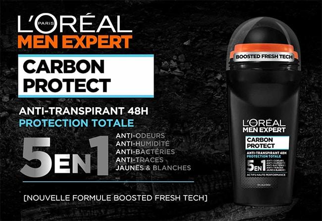 Testez le déodorants Carbon Protect de L'Oréal Men Expert avec Sampleo
