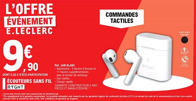 Écouteurs sans fil à commandes tactiles Ryght à petit prix chez Leclerc