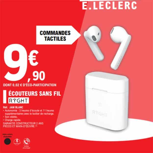 Promo Leclerc : Écouteurs sans fil Ryght pas chers à 9,90€