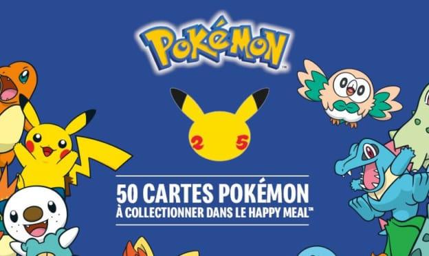 Cartes Pokémon à collectionner offertes avec le Happy Meal de McDo