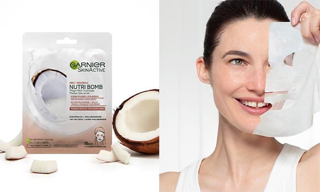 Testez gratuitement le masque en tissu Nutri Bomb au lait de coco et acide hyaluronique de Garnier avec Sampleo