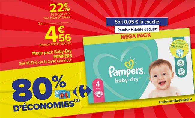 80% de remise fidélité sur les couches Pampers dans les magasins Carrefour