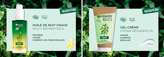 Gel crème et huile de nuit au Chanvre Bio Garnier à tester
