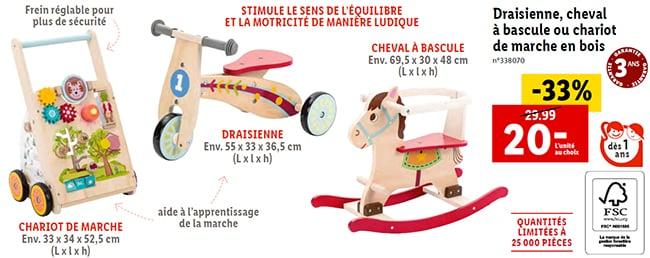 Chariot de marche, draisienne pas chère et cheval à bascule à petit prix chez Lidl