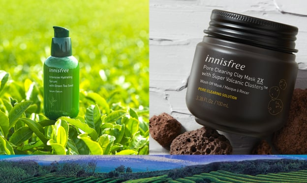 Test Innisfree : routines thé vert & roches volcanique