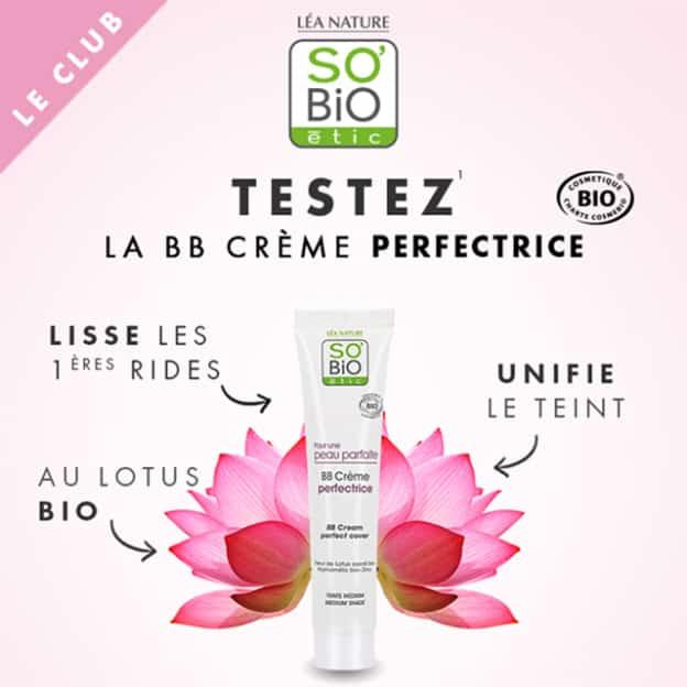 Test SO'BiO étic : BB Crème Perfectrice gratuites