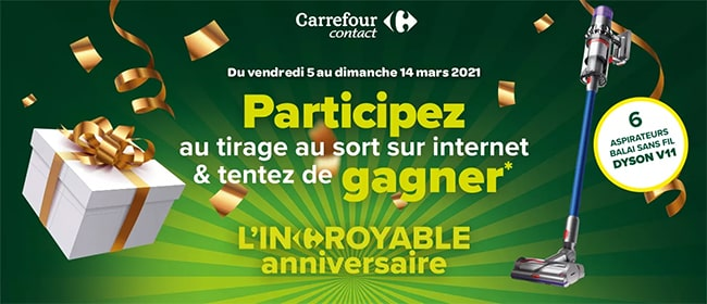 Tentez de remporter un aspirateur balai sans fil Dyson avec Carrefour Contact
