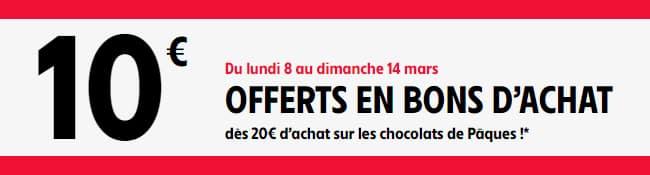 Recevez 2 bons de réduction Intermarché de 5€ dès 20€ de chocolats de Pâques achetés