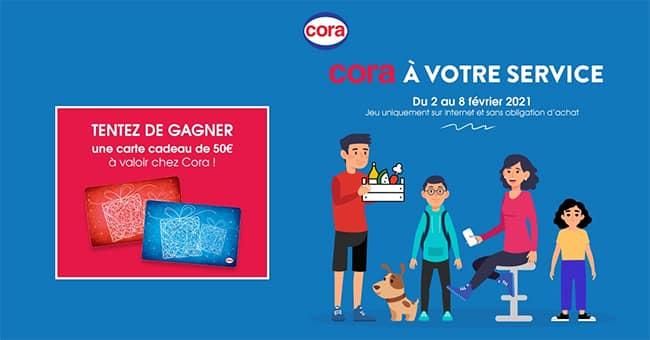 """10 cartes cadeaux Cora offertes au travers du jeu """"A votre Service"""""""