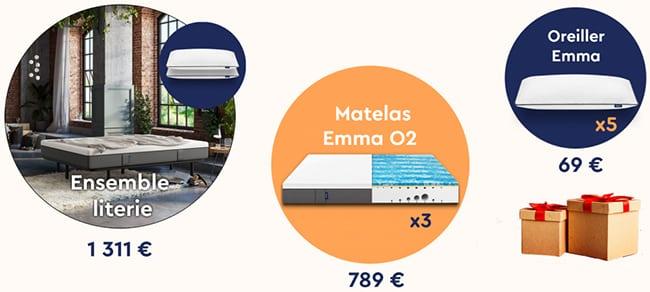 Les cadeaux à gagner au jeu Emma Matelas