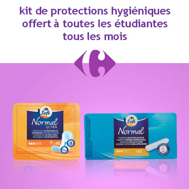 Carrefour : Protections hygiéniques gratuites pour les étudiantes