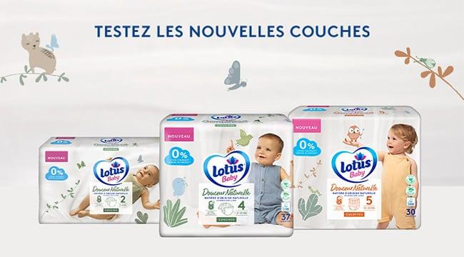 tester gratuitement les nouvelles couches Douceur Naturelle de Lotus Baby