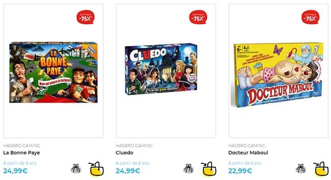 75% de réduction sur le 2ème jeu Hasbro Gaming acheté