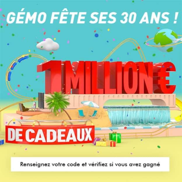 30 ans Gémo : Jeu à code avec 1 million d'€ de lots à gagner
