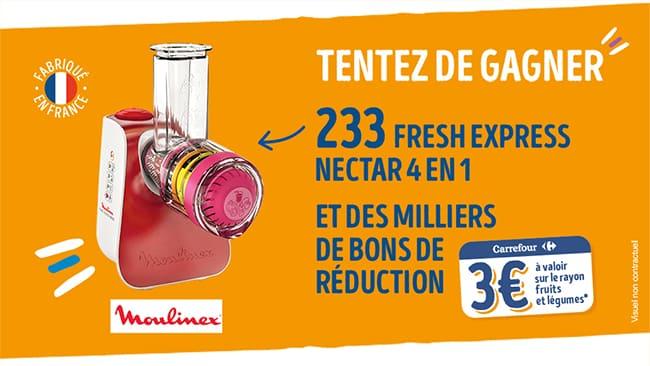 Tentez de gagner un hachoir Fresh Express de Moulinex ou un bon d'achat Fruits et Légumes Carrefour