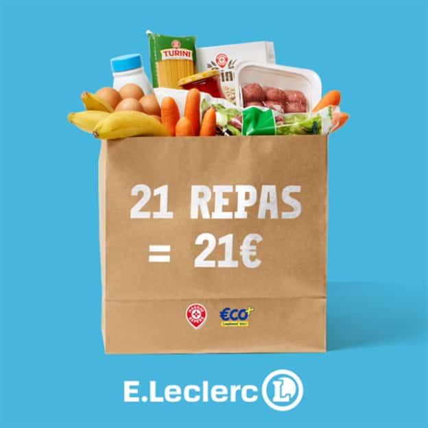 21 repas Leclerc pour 21 euros : paniers en magasin et Drive