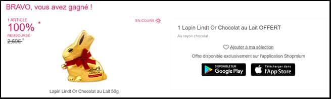 Obtenez le remboursement de votre Lapin en chocolat Lindt avec l'ODR Shopmium