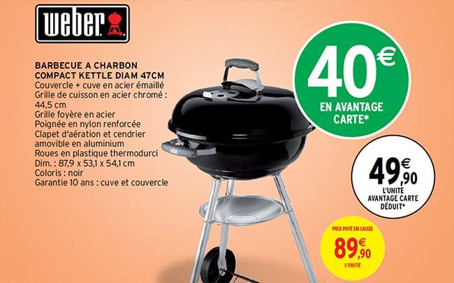 40€ de remise fidélité sur le Barbecue Weber 47cm chez Intermarché
