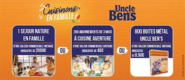 Cadeaux offerts au jeu Uncle Ben's