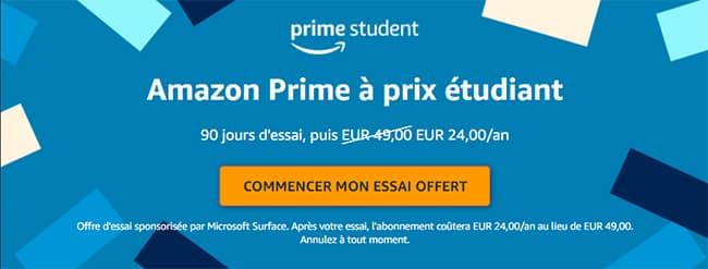Prime Student : Profitez de 90 jours d'essai à Amazon Prime si vous êtes étudiant