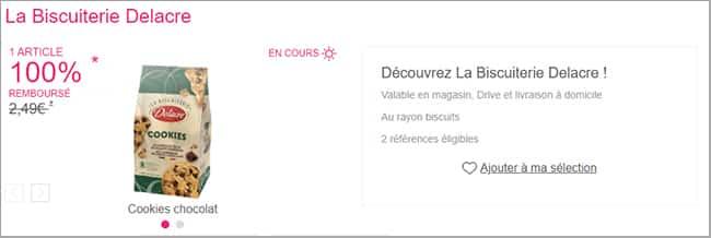 Cookies au chocolat Delacre intégralement remboursés par Shopmium