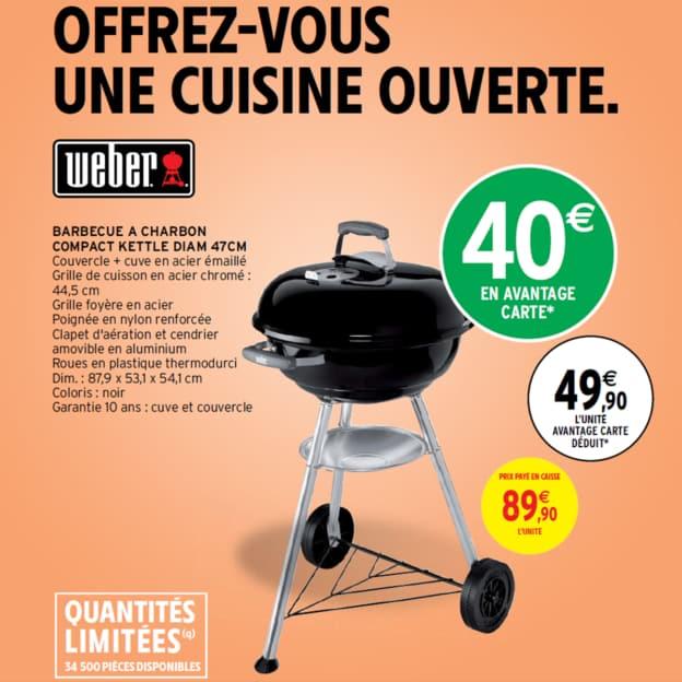 Intermarché : Barbecue Weber à 49,90€ (avantage carte déduit)