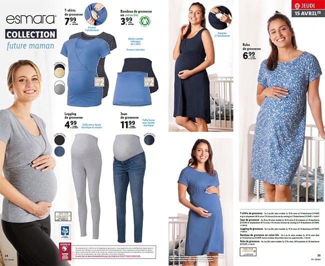 Collection de vêtements pour femmes enceintes Esmara à petit prix chez Lidl