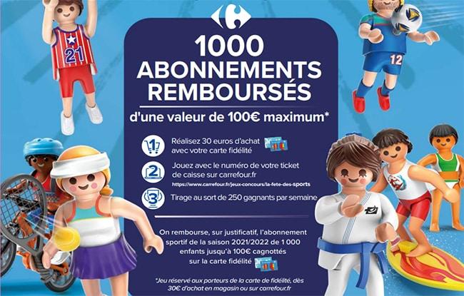 gagner le remboursement de l'abonnement sportif de votre enfant avec Carrefour
