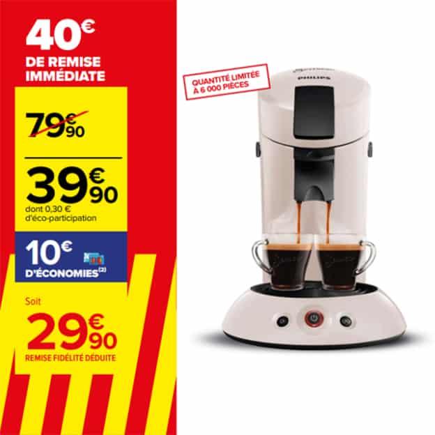 Carrefour : Machine à café Senseo moins chère (remises immédiate et fidélité)