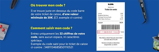 Code du ticket de caisse Lidl