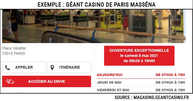 Géant - Super Casino Lidl ouvert le samedi 8 mai 2021