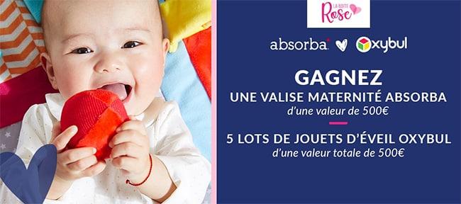 Remportez une valise maternité Absorba ou l'un des 5 lots de jouets d'éveil Oxybul avec La Boîte Rose