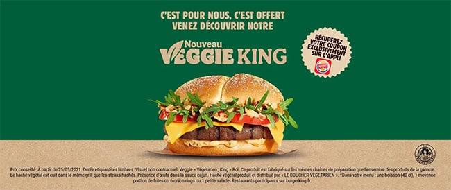 Obtenez un coupon pour un Veggie King gratuit sur l'application Burger King
