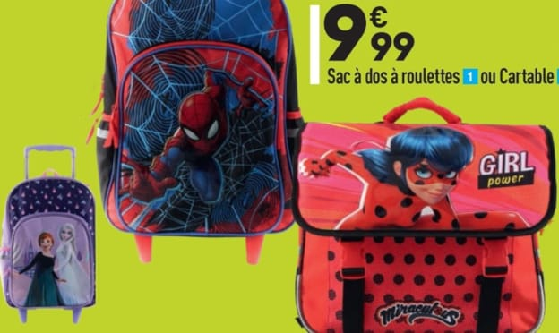 Aldi : Cartables et sac à dos à roulettes pas chers