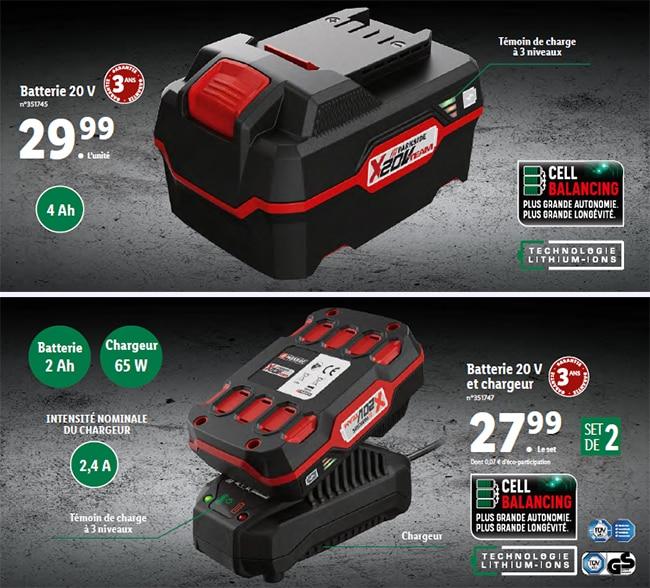Batterie Lidl Parskide 20V et chargeur