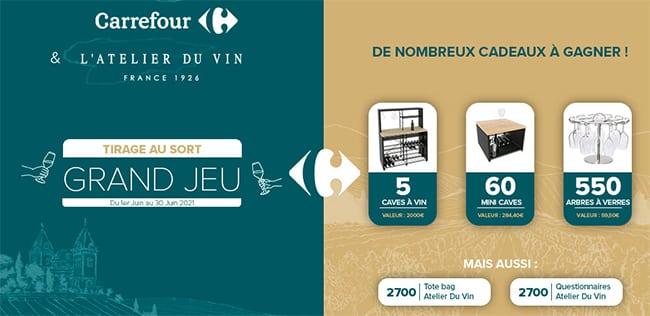 Remportez une cave à vin ou un lots ave le jeu L'Atelier du vin de Carrefour