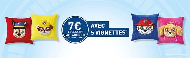 Coussins Pat Patrouille à 7€ avec les vignettes