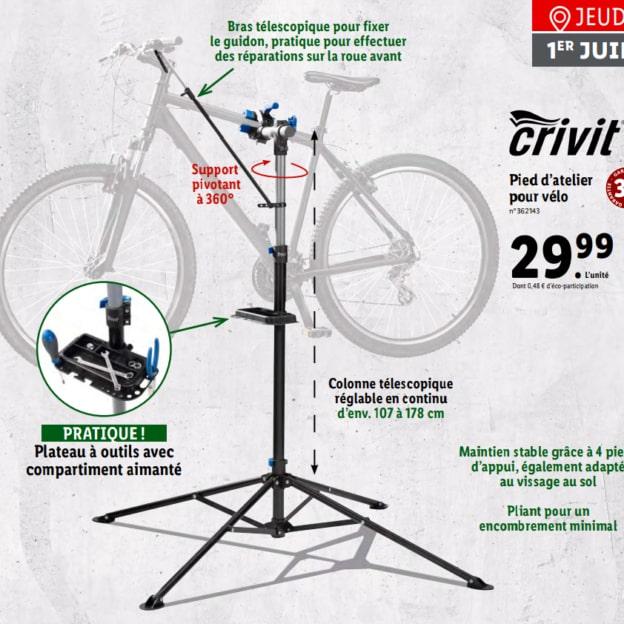 Lidl : Pied d'atelier pour vélo Crivit pas cher