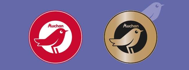 logos des produits Auchan participants au jeu Ticket d'Or