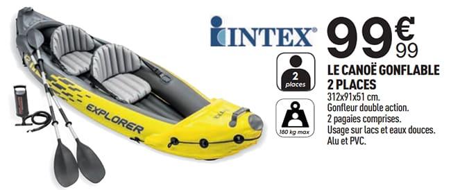Canoë gonflable à petit prix : Intex Explorer K2 en promo Centrakor
