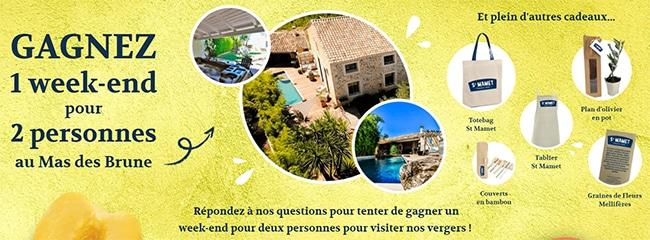 Remportez un week-end au Mas des Brune ou un cadeau avec St Mamet