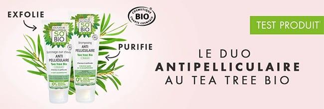 Testez gratuitement les soins antipelliculaires Tea tree Bio de SO'BiO étic