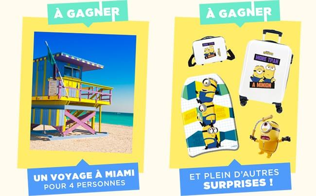 Gagnez un séjour à Miami ou des packs de produits Mattel et Minions