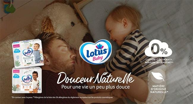 Recevez gratuitement une couche Douceur Naturelle Lotus Baby