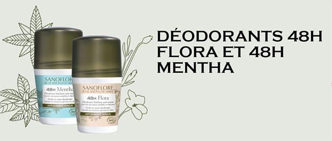 Testez gratuitement le déodorant 48h Mentha ou 48h Flora de Sanoflore